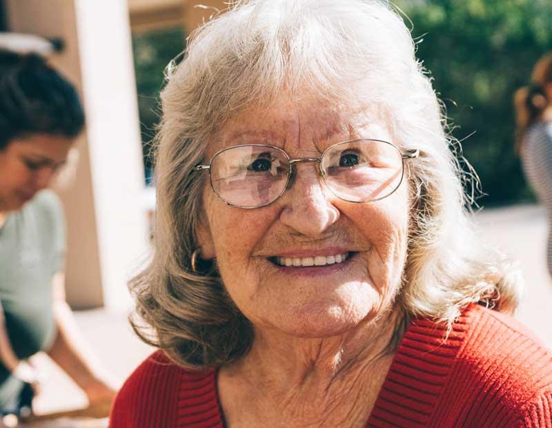 senior woman, smiling